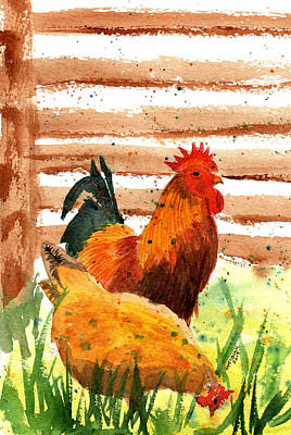 On Trend At The Pool - Colorful Rooster And Hen by Margaret Bucklew