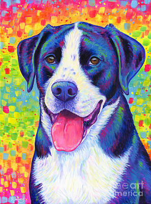 Painting - Colorful Bicolor Dog with Rainbow Colors by Rebecca Wang