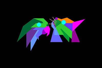 Animals Digital Art - Colorful Cat and Bird Geometric WPAP Pop Art Style by Ahmad Nusyirwan