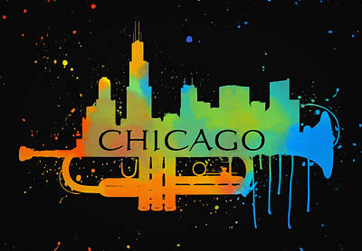 Music Paintings - Colorful Chicago Trumpet Skyline by Dan Sproul