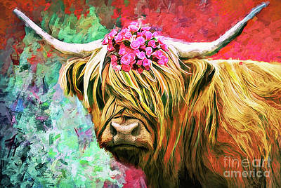 Rolling Stone Magazine Covers - Colorful Cow by Tina LeCour