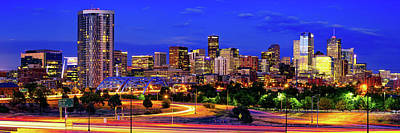 Royalty-Free and Rights-Managed Images - Colorful Denver Colorado Skyline Panorama Over The Speer Boulevard Platte River Bridge by Gregory Ballos