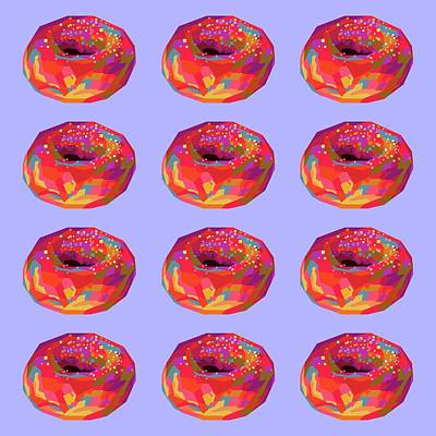 The Champagne Collection - Colorful Donuts Wpap Pop Art Pattern Blue background by Ahmad Nusyirwan