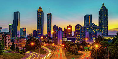 State Word Art - Colorful Georgia Morning - Atlanta Skyline from Jackson Street Bridge Panorama by Gregory Ballos