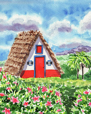Royalty-Free and Rights-Managed Images - Colorful House Of Santana Village Portugal Watercolor  by Irina Sztukowski