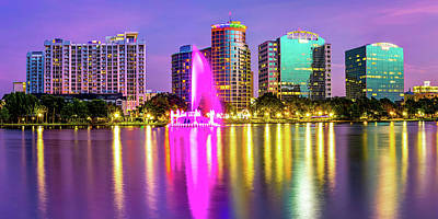 Royalty-Free and Rights-Managed Images - Colorful Lake Eola Fountain and Orlando Skyline Panorama by Gregory Ballos