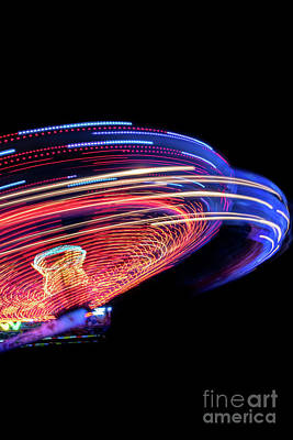 Superhero Ice Pops - Colorful Light Trail From A Fast Carrousel At A Fun Park In The Night by Andreas Berthold