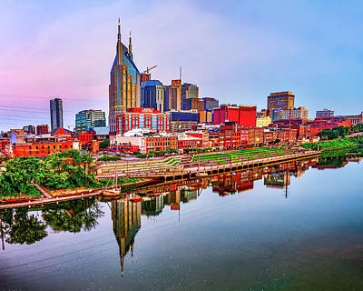 Royalty-Free and Rights-Managed Images - Colorful Nashville City Skyline by Gregory Ballos