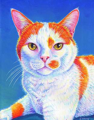 Painting - Colorful Orange and White Cat - Hyler by Rebecca Wang