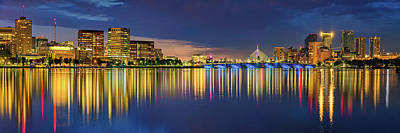 Royalty-Free and Rights-Managed Images - Colorful Panoramic View of the Boston Skyline Over Charles River by Gregory Ballos