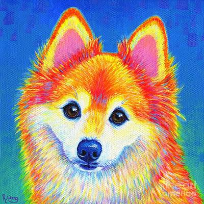 Painting - Colorful Pomeranian Portrait - Sunshine by Rebecca Wang
