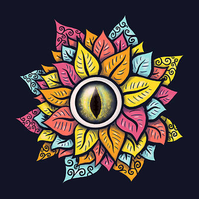 Surrealism Royalty-Free and Rights-Managed Images - Colorful Reptile Eye Flower Trippy Surreal Art by Boriana Giormova