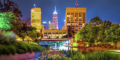 Royalty-Free and Rights-Managed Images - Colorful Skyline of Indianapolis Indiana From the Canal - Panoramic Format by Gregory Ballos