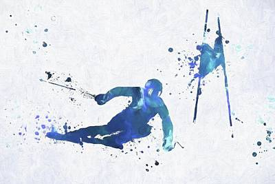 Sports Paintings - Colorful Slalom by Dan Sproul