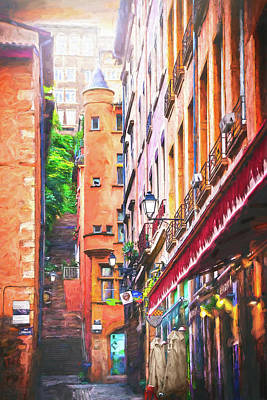 Studio Grafika Science - Colorful Street Scenes of Vieux Lyon France  by Carol Japp