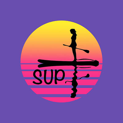 Sports Royalty-Free and Rights-Managed Images - Colorful Sunset Stand Up Paddle Board by Joanne Grant