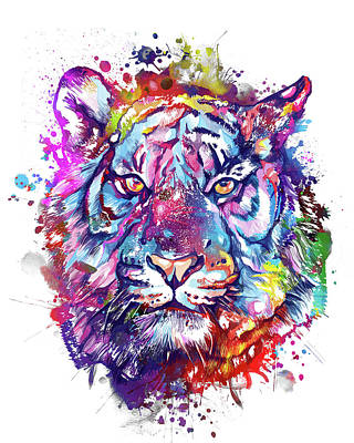 Animals Digital Art - Colorful Tiger Face by Bekim M