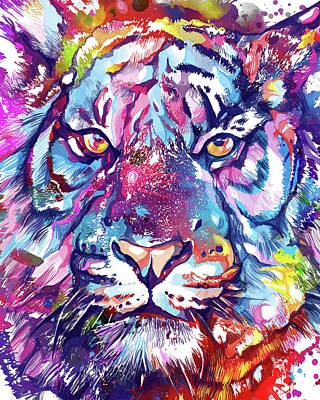 Royalty-Free and Rights-Managed Images - Colorful Tiger Face V2 by Bekim M
