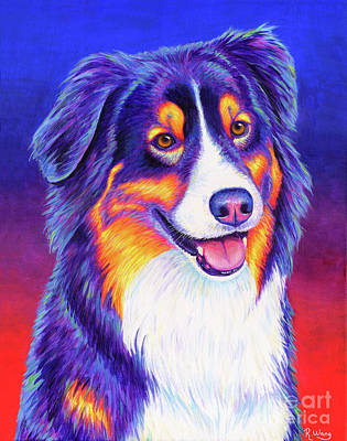 Painting - Colorful Tricolor Australian Shepherd by Rebecca Wang