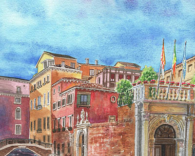 Royalty-Free and Rights-Managed Images - Colorful Venice Buildings Italian Vacation Watercolor  by Irina Sztukowski