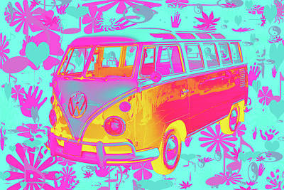Royalty-Free and Rights-Managed Images - Colorful VW 21 window Mini Bus Pop Art image by Keith Webber Jr