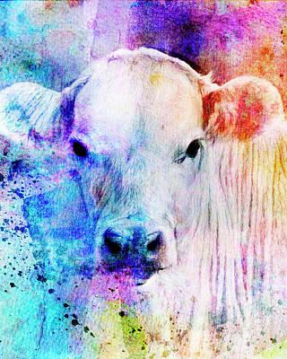 Vintage Automobiles - Colorful Watercolor Cow Portrait by Ann Powell