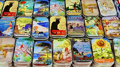 Coy Fish Michael Creese Paintings - Colourful metal boxes, Marche aux Fleurs, Cours Saleya, Nice, France. by Joe Vella