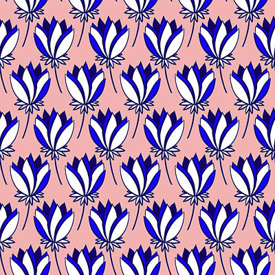 Royalty-Free and Rights-Managed Images - Colourful symmetrical floral seamless pattern. Beautiful abstract flowers in bright colors.  by Julien