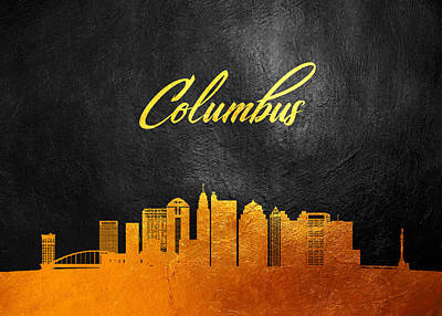Personalized Name License Plates - Columbus Ohio Gold Skyline by AB Concepts