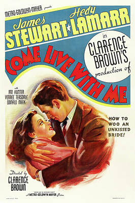 Winter Animals - Come Live With Me movie poster, with James Stewart and Hedy Lamarr, 1941 by Stars on Art