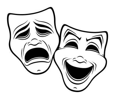 Digital Art - Comedy And Tragedy Theater Masks Black Line by John Schwegel