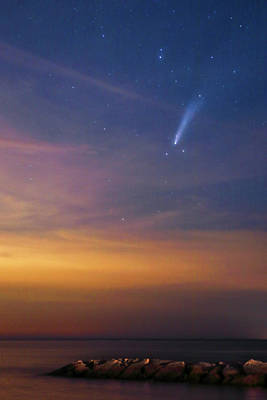 Mistletoe - Comet Neowise over Rock Harbor and Cape Cod Bay by Juergen Roth