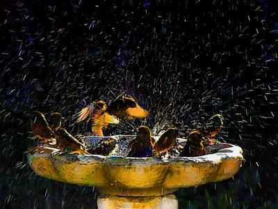 Animals Digital Art - Communal Bathing by Steve Taylor
