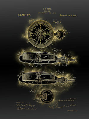 Sports Royalty-Free and Rights-Managed Images - Compass Patent Black Gold by Bekim M