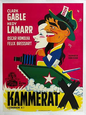 Royalty-Free and Rights-Managed Images - Comrade X, with Clark Gable and Hedy Lamarr, 1940 -2 by Stars on Art