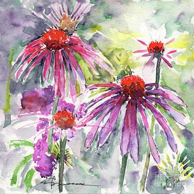 Painting - Coneflowers in Warm Hues by Claudia Hafner