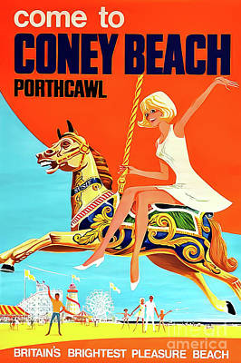 Drawings Royalty Free Images - Coney Beach Porthcawl Britain Poster 1968 Royalty-Free Image by H Riley