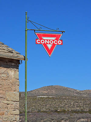 Vintage Pink Cadillac - Conoco Sign by Michael Peychich