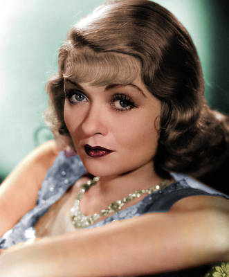 Peacock Feathers - Constance Bennett colorized by Stars on Art