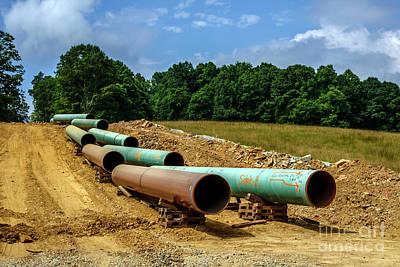 Thomas Kinkade - Consturction Mountain Valley Pipeline by Thomas R Fletcher