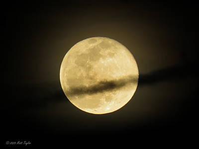 Photograph - Contrail Slicing Through Full Hazy Moon by Matt Taylor