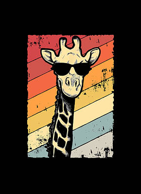 Surrealism Digital Art Rights Managed Images - Cool Giraffe Royalty-Free Image by Bear Bern