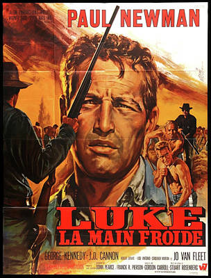 Mixed Media Royalty Free Images - Cool Hand Luke French poster 1967 Royalty-Free Image by Stars on Art