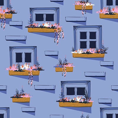 Royalty-Free and Rights-Managed Images - Cool Seamless pattern background of wall with windows in the summer vibes, illustration on blue brick background color.  by Julien