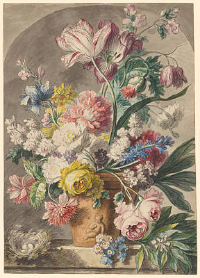Animals Paintings - Copy after Jan van Huysum 1682 1749 Flowers in an Urn and a Birds Nest on a Stone Ledge within a Nic by Arpina Shop