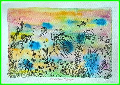 Animals Drawings - Coral Reef by Sonali Gangane
