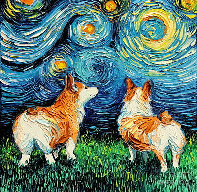 Painting - Corgi Night by Aja Trier