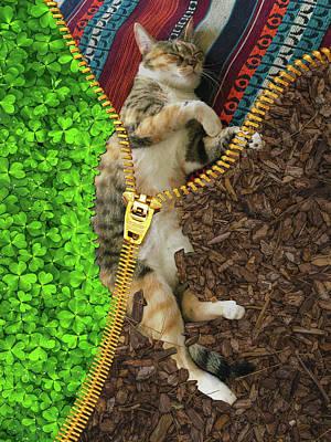Surrealism Royalty Free Images - Corona Tortoiseshell Tabby Cat and Zipper Surreal Royalty-Free Image by Barroa Artworks