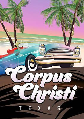 Digital Art - Corpus Christi travel poster. by David Greenaway