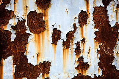 School Teaching - Corroded white metal background. Rusted white painted metal wall. Rusty metal background with streaks of rust. Rust stains. Rystycorrosion.  by Julien